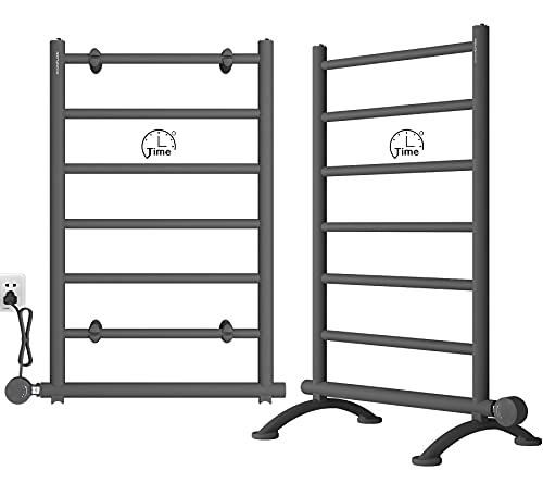 AVONFLOW Free Standing Electric Towel Warmer with Smart Controller Timer Heated Towel Drying Rack 250W Matte Black