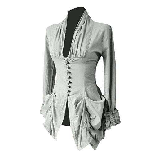 Camisa Elegante Mujer Blusa Gótico Medieval Manga Larga Botón Cuello