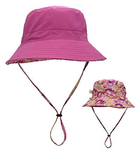 Ommda Sonnenhüte Damen Sonnenhut UV Schutz UPF 50+ Sommer Outdoor Fischerhut Bucket Hat Blumenmuster Atmungsaktiv mit Nackenschutz Rosenrot S