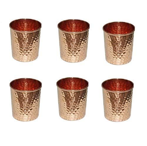 RATNA Juego de 6 vasos de vidrio de cobre martillado para beneficios ayurvédicos para la salud