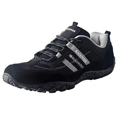 Knixmax - Zapatillas de Senderismo para Mujer, Zapatillas de Montaña Trekking Trail Ligeros Cómodos y Transpirables Zapatillas de Seguridad Low-Top Antideslizante de Deporte, Negro EU 37