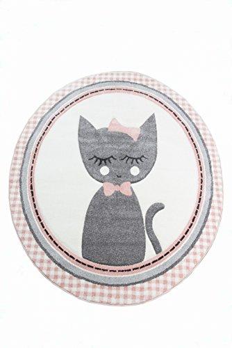 Tapis pour Enfants Tapis de nurserie Tapis pour bébé Rond Chat en Rose crème Grise Größe 120 cm Rund