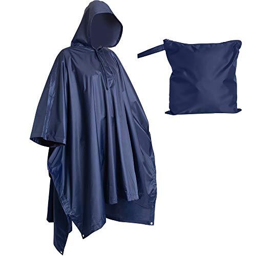 Lingito Heavy Duty Reusable Rain Poncho, Backpacking rain gear, Waterproof Lightweight Rain Ponchos for Adults, Military Poncho as Emergency Rain Poncho, Camping Poncho Men Women with Bag (Adult-Blue)