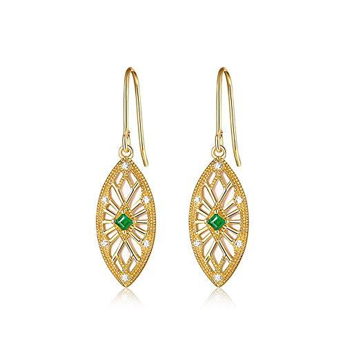 GJF Schöne Blätter natürliche smaragdgrüne Muschel Zirkonium Ohrringe Retro hohlen Frauen Ohrringe