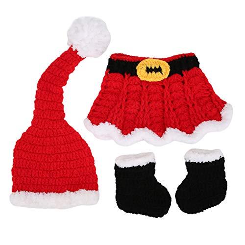 Disfraz de fotografía navideña de algodón suave para bebés, diseño de Papá Noel, bebé recién nacido, niño pequeño, accesorios para disparar, sombreros de punto, calcetines