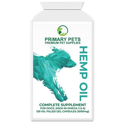 Primary Pets Premium Pet Supplies Olio di Canapa per Cani 120 Softgels Facile da Usare. Ideale per calmare Animali Domestici, articolazioni e Salute, vitamine e...