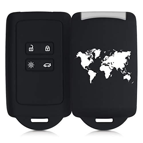 kwmobile Funda de Silicona Compatible con Renault Llave de Coche Smart Key de 4 Botones (Solo Keyless Go) - Carcasa para Llave de Coche - Case para Mando de automóvil Mapa del Mundo