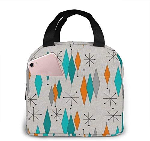 Mid-Century Modern Diamond Lunch Bag para mujeres,niñas,niños,bolsa de picnic aislada Gourmet Tote Cooler,bolsa cálida para trabajo escolar,oficina,camping,viajes,pesca