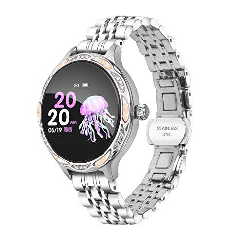 Hffan Smartwatch für Damen, Wasserdicht Sports Bluetooth Intelligente Armbanduhr Fitness Armband für Android und ios System, Support-Anruferinnerung und Nachrichtenerinnerung (Rosa)