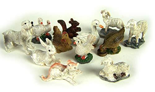 Tierset 12tlg. für 5 bis 7cm Figuren, handbemalen