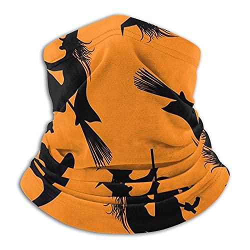 Bingyingne Calentador de cuello de microfibra Halloween Flying Witch Microfiber Neck Warmer Breathable Mask Windproof Neck Scarf Outdoor for Unisex Party Cove Magic Scarf Balaclava