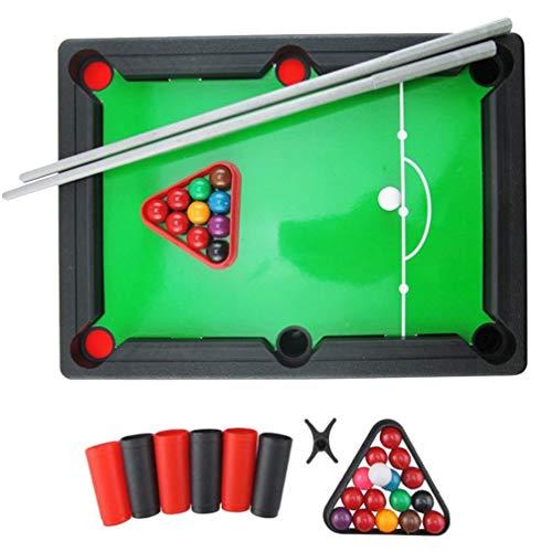 Toyvian Mini-Billardtisch Indoor-Tisch Billard Eltern-Kind Interaktives Brettspiel-Set mit Bällen Queues Rack Pool für Freunde Familie Spielen
