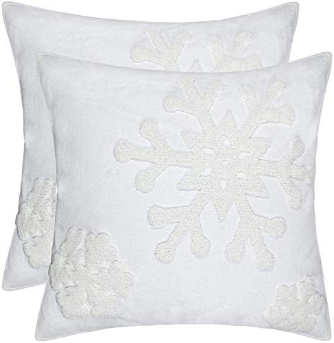 FYH Cotton Soft Square Christmas Blessing Throw Pillow Cover for Bed Cushion Car Snowflake Embroideried Pillowcases 1pair