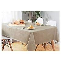 レトロなPVCテーブルクロスで作られた防水で汚れにくい家庭用長方形テーブルクロスプレースマット (Color : Beige, Size : 140*200CM)