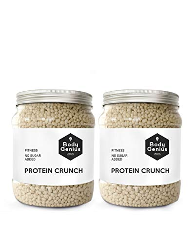 BODY GENIUS Dúo Protein Crunch (Chocolate Blanco). 2x500g. Cereales Proteicos. Bolitas de Proteína Recubiertas de Chocolate Sin Azúcar. Bajo en Hidratos. Snack Fitness. Hecho en España.