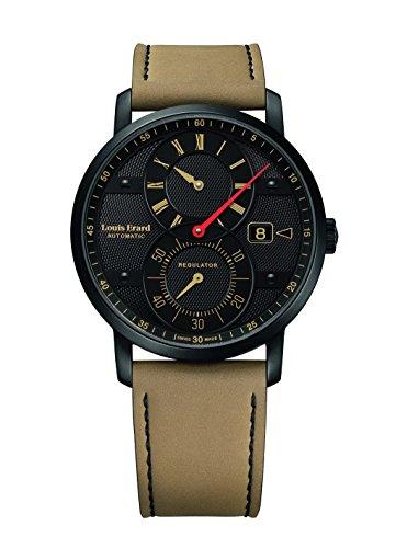 Louis Erard Excellence Automatik Uhr, PVD, Schwarz, Guilloché, Tag, Nubuck