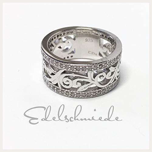 filigraner, breiter Ring 925 Silber rhod mit Zirkonia #54
