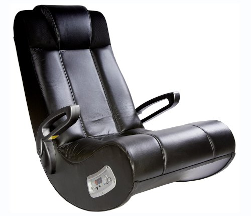 Ace Bayou X Rocker II SE 2.1 Wired Audio Highback Soft Faux Leather Rocking Video Gaming Floor Chair, Foldable, Pivoting Armrests, Heavy-Duty Stylish Design, Portable - Faux Black Leather,