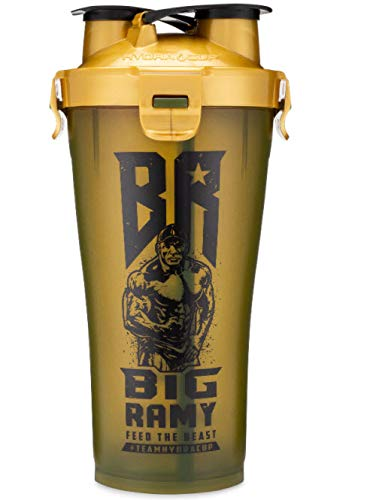 Hydra Cup - 36oz High Performance Dual Shaker Bottle, 2 in 1, 14oz + 22oz, Leak Proof, Awesome Colors, Patented PRE + Protein Shaker Cup, Save Time & Be Prepared, Big Ramy Army