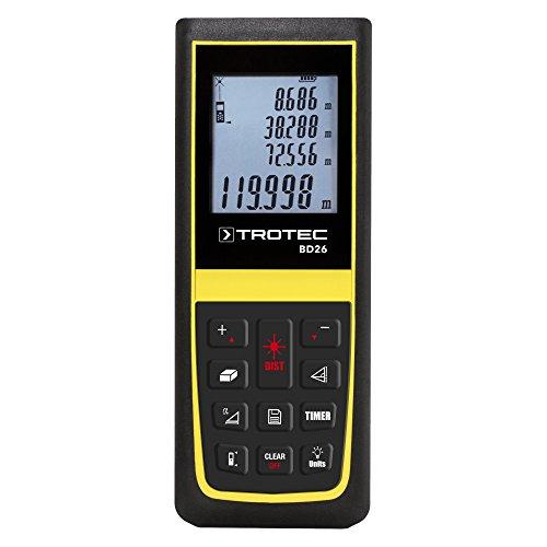 TROTEC BD26 Laser Entfernungsmesser (max. Reichweite 120 Meter) Messgerät Streckenmesser Taschenmessgerät