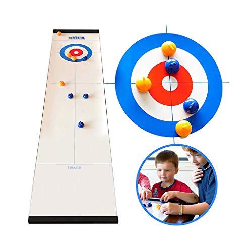 YYL Schnelles Sling Puck Spiel Tisch-Curling-Spiel Kompaktes Curling-Brettspiel mit 8 Rollen für Familien Erwachsene und Kinder Team Brettspiel Einfach Einzurichten und So Kompakt