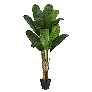 Nearly Natural 5576 4' Double Stalk Banana Tree Artificial Plant Green