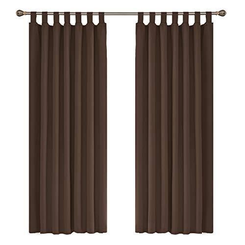 Amazon Brand - Umi Cortinas Modernas Salon Opacas Dormitorio Modernos para Ventana Dormitorio con Trabillas 2 Piezas 140 x 175 cm Marrón