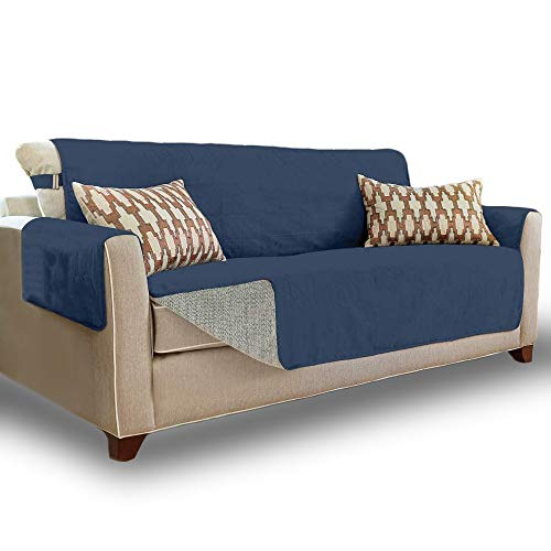 Gorilla Grip Original Slip Resistant Large Sofa Protector for Seat Width up to 70 Inch, Patent Pending Suede-Like Furniture Slipcover, 2 Inch Straps, Couch Slip Cover Throw for Dogs, Sofa, Denim Blue