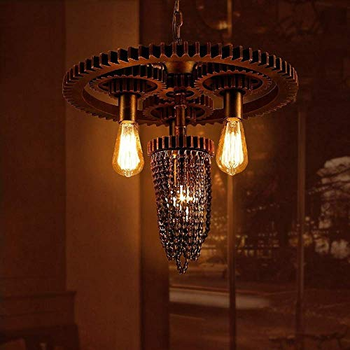 YUNZHI Durable Exquisite Nordic LOFT Retro Industrial Wind Gear Water Pipe Chandelier 2 Head Gear Steampunk Water Pipe Chandelier Hanging Lamp Recessed Pendant Light Cafe Bar Restaurant Chandeliers steampunk buy now online