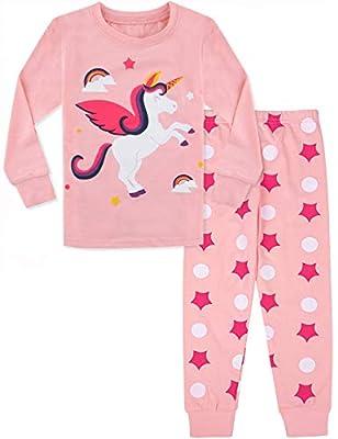 MOMBEBE COSLAND Pijama Unicornio Niña Manga Larga (2 años, Rosa)