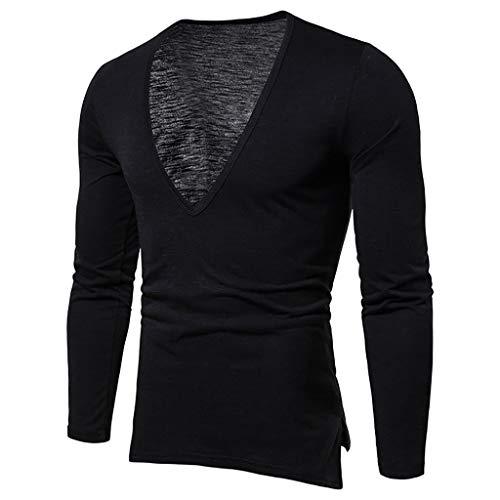 DNOQN Running Shirt Herren T Shirt Lange ärmel Mode Herren Handsome Beiläufig Langarm T-Shirt mit Tiefem V-Ausschnitt Tops L