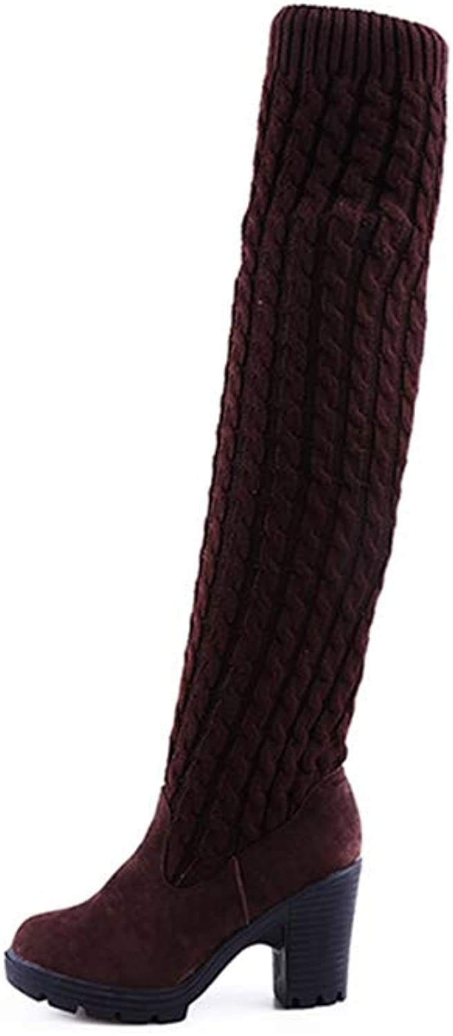 T-JULY Women Fashion Knitted Knee High Boots Elastic Slim Autumn Winter Warm Long Thigh High Boots