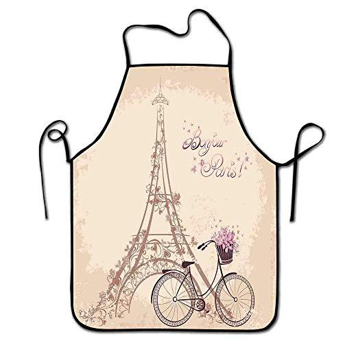 Not Applicable Tablier Paris Enfants Bonjour Paris Tour Eiffel et Vélo Vintage avec Fleurs Rétro Couleur Douce Tablier Imprimé Hommes BBQ Crème Rose