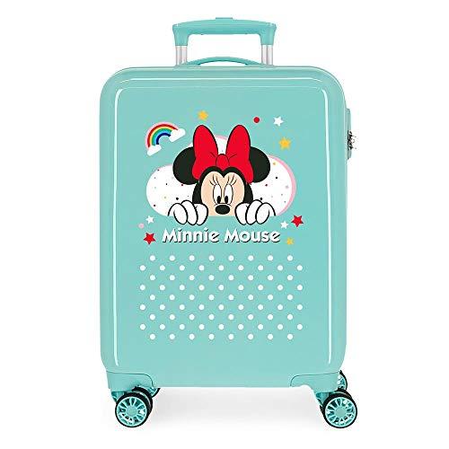 Disney Minnie Rainbow Maleta de Cabina Verde 37x55x20 cms Rígida ABS Cierre de combinación Lateral 34L 2,66 kgs 4 Ruedas Dobles Equipaje de Mano