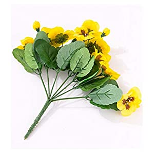 Silk Flower Arrangements DIDII ONE Fake Ghost Face Orchid (7 Stems/Bunch) Silk Pansy Viola Tricolor Green Leaf for Wedding Home Decorative Artificial Flowers (Color : Yellow)