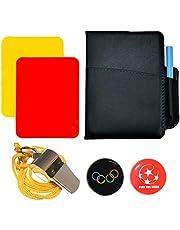 SANTOO Voetbal, scheidsrechter, kaarten, sport, scheidsrechter, set roestvrij stalen pijpen met tas, kiesmerk, trainer gele kaart, rode kaart voor voetbalwedstrijd (A)