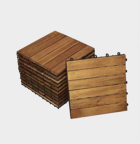 SAM 11er Spar-Set Fliese 01 Terrassenfliese aus Akazien-Holz, 30x30cm für 1m², Klickfliese, Braun