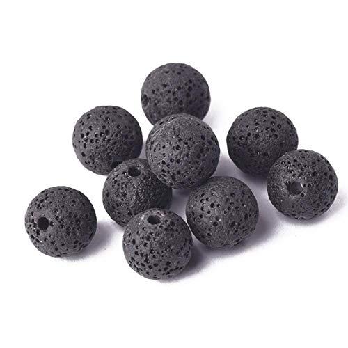 Piedra de lava de volcán natural redonda de 6 mm, 8 mm, 10 mm, 12 mm, 14 mm, 16 mm, lote de cuentas sueltas para joyas, pulseras de bricolaje, color negro, 12 mm, 10 unidades