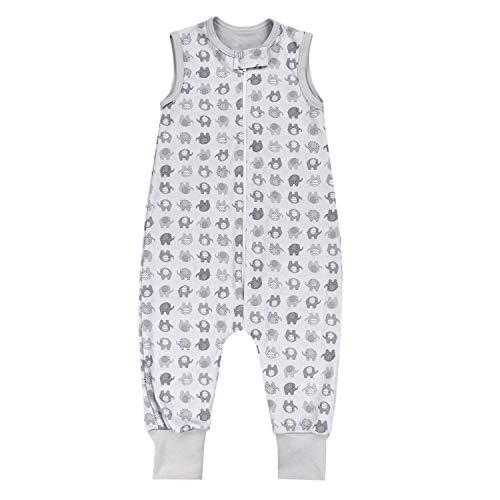 TupTam Unisex Babyschlafsack mit Beinen Unwattiert, Farbe: Elefant Grau, Größe: 116-122