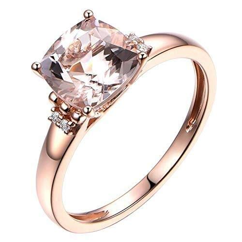 necklace Ladies fashion Beryl gemstone genuine diamonds 9CT solid rose gold engagement ring for women to marry, ring size: 1/2 I Hoisting (Size : 53 * 16.75mm)