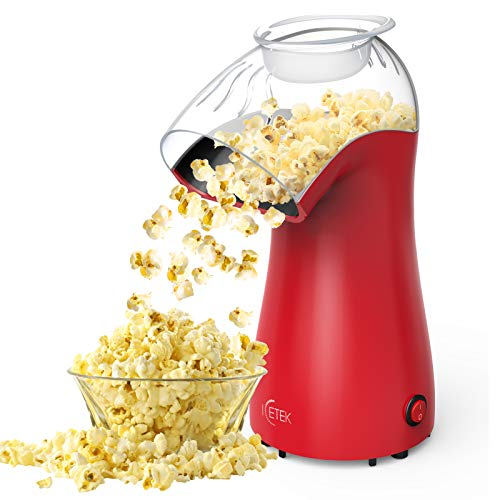 Hot Air Popcorn Maker Machine, ICETEK Home Popcorn Maker, BPA-Free, 96% Poping Rate, 2 Minutes Fast Electric Popcorn Popper with Measuring Cup and Removable Cover, No Oil Healthy Snack for Kids Adults