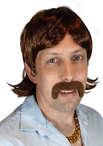 70's Hippie Wig | Mustache Included | 60s Disco Party Wig Straight Sonny Bono Cher Singer Ron Burgundy TV Star Brown Costume