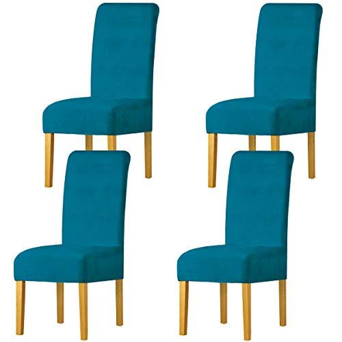 LANSHENG Stretchy Stuhlbezüge für Esszimmerstühle, Stretch Spandex mit Gummiband Stuhlbezug,Velvet Large Dining Chair Schonbezüge für Restaurant Hotel Party Bankett (Pfauenblau,4 Pack(M))