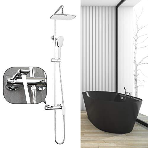 Faulkatze Duscharmatur Regendusche Duschsystem Duschsäule Duschgarnitur Duschset mit Einhebelmischer Mischbaterie, 2 Strahlen Handbrause, Überkopfbrause, Duschsäule Edelstahl(96-140cm)