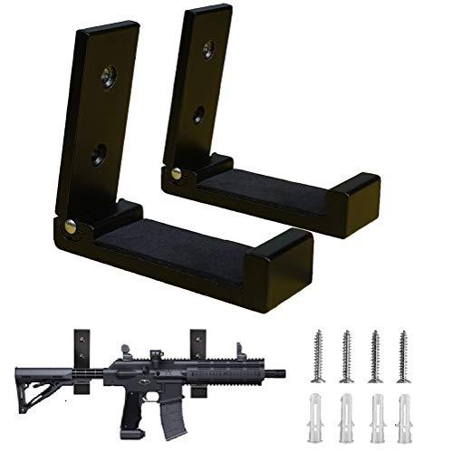 Gun Hooks,Folding Indoor Gun Racks with Padding,Excellent for Hanging or Storing Any Long Gun,Shotgun,Rifle,Sword and Bow,Sturdy Gun Wall Mount Black 2PCS