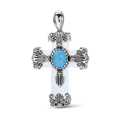 American West Sterling Silver, Mother of Pearl & Blue Turquoise Gemstone Floral Cross 2