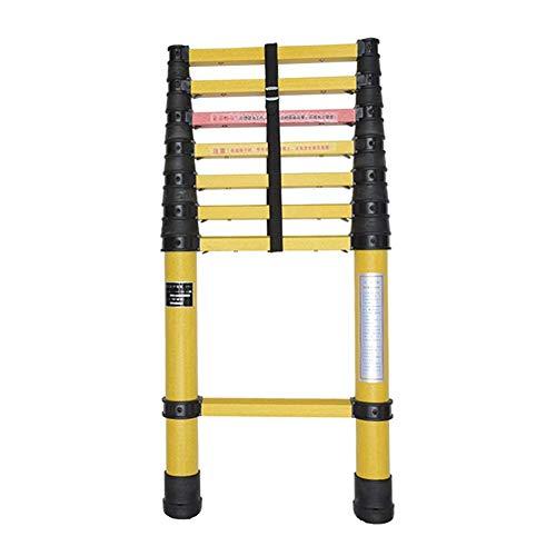 LADDER Escaleras telescópicas, Escaleras de extensión de fibra de vidrio de servicio pesado extra alto de 16.4 pies, Escalera telescópica no conductora de ingeniería multipropósito Frp, Capacidad de