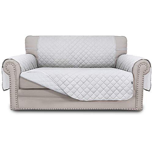 Easy-Going Funda de sofá reversible para sofá cama resistente al agua, protector de muebles con correas elásticas para mascotas, niños, perros, gatos, blanco y blanco