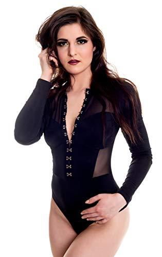HO-Ersoka Damen Body Langarm für Frauen Spitzen Damenwäsche Bodysuit Blickdicht mit Langen Ärmeln, Hakenleiste und sexy Netz-Einsätze transparent schwarz M