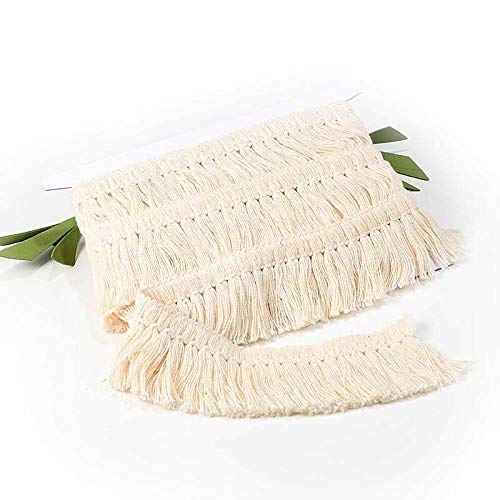 VU100 Cotton Tassel Fringe Trim 1-1/5inch, Lace Trim by 6 Yard, for Sewing Edging Trimming Curtain Blanket Hanging Rugs Clothing Home Decor(Off White)